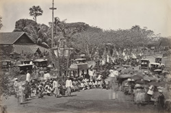 A Burmese funeral procession at Rangoon